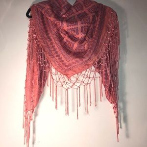 Scarf with fringe or shawl off shoulders